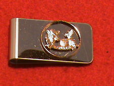 Hand cut Wisconsin state quarter 24 kt gold plated mounted as a money clip