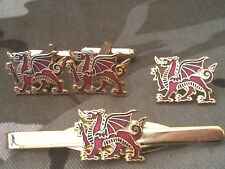 Wales Welsh Dragon Cufflinks, Badge, Tie Clip Gift Set