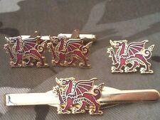Wales Welsh Dragon Cufflinks, Badge, Tie Clip Gift Set