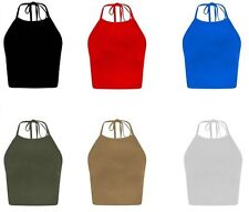 No Pattern Halterneck Cropped Fitted Tops & Shirts for Women