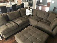 Rooms to Go Chocolate Two Piece Sectional Sofa with Ottoman