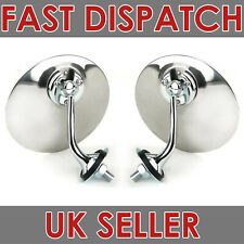 PAIR OF CHROME ROUND LUCAS STYLE EXTERIOR WING DOOR MIRROR CLASSIC CAR LH & RH