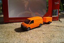 Herpa  VW T6 Transporter mit Planen Anhänger  orange   093071  Neu OVP 1:87
