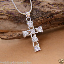 Silver Plated Women Girls Gemstone Crystal Cross Lady Necklace Pendant Jewelry