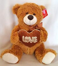 "Teddy Bear Plush Stuffed Animal Gift Love Romance Brown Silver Trim Heart 15"""