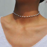 Charm Crystal Opal Gem Bead Pendant Necklace Women Alloy Clavicle Chain Necklace