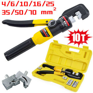 10 Ton Hydraulic Crimper Crimping Tool Dies Battery Cable Wire Hose Lug Terminal