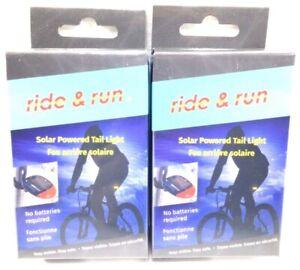 2 Ride & Run Solar Powered Bike Tail Light Night Walking Blinker 3 LED Modes New