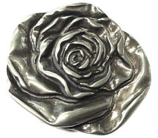 Gürtelschnalle Rose, silber rund