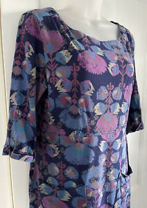 White Stuff Uk 14 Blue Pink Tunic Dress Top Floral Abstract VGC