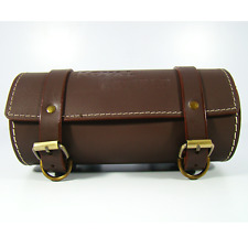UNIVERSAL CYLINDRICAL MOTORCYCLE LEATHER TOOL BAG FOR STORAGE BROWN