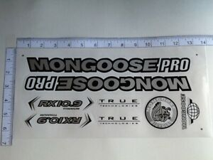 Mongoose PRO RX 10.9 Titanium Stickers  Silver, Black & White. Die Cut.