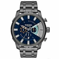 Diesel DZ4358 Stronghold Chronograph Blue Dial Grey Ion-Plated Men's Watch