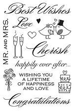 Hero Arts Clear Stamps - Best Wishes - Cherish, Wedding, Love Birds, Cake Hearts