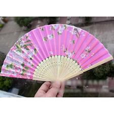 1pc Chinese Style Floral Printing Bamboo Foldable Hand Fan Color Coming Randomly