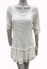 ❤ Bershka Talla L (12) BNWT Damas Vestido Mini Túnica de Encaje Crema (Grupo Zara)