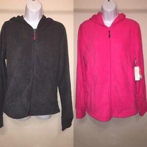 Danskin now women's maternity micro fleece hooded jacket thumb hole Medium color
