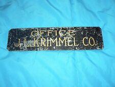 Antique Vintage Metal Office Name Plate J.L. Krimmel Co.