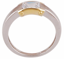 Elegant Ring Size 10  3.9 Grams 925 Silver 18k Gold Accent Band w CZ Emerald Cut