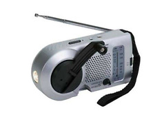 Kaito Emergency AM/FM Radio with Flashlight KA-006, Silver Color