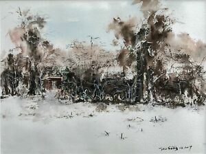 Original watercolor painting landscape freehand Mom's Garden