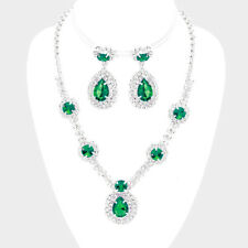 Green diamante crystal necklace set Brides Bridesmaids Proms statement jewellery