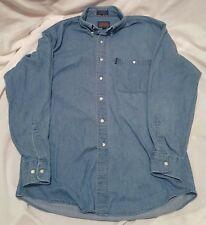 Men's Chaps Ralph Lauren Long Sleeve Denim Shirt Cotton Blue Jean 16 34/35 VTG