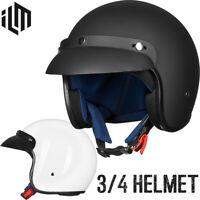ILM 3/4 Open Face Motorcycle Helmet Retro Casco ATV Moped Scooter Cruiser DOT