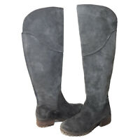 Lucky Brand Harleen Womens 9M Gray Suede Leather Knee High Boots