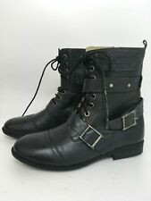 WOMENS CRAFTED DENIM BRAND GREY LEATHER HEEL SMART ANKLE BOOTS SHOES UK 6 EU 39