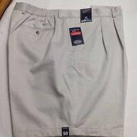 Roundtree &Yorke Big Man Travel Smart Shorts Pleated String 50x8 $46 New