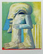 Horst Antes, FIGUR MIT ZAUN, Farblithografie, handsign., numeriert 1976