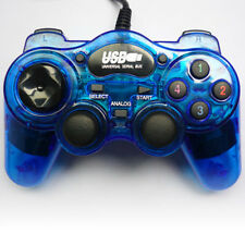 Blu USB WIRED GAMEPAD CONTROLLER JOYPAD PER PC & Laptop con Feedback con vibrazione