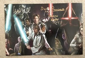 Genuine Hand Signed Star Wars Picture, Mark Hamill, Dave Prowse & Harrison Ford