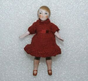 """VINTAGE 1920's ALL BISQUE DOLLHOUSE Germany 3 1/4"""" JOINTED 1:12 SCALE CHILD DOLL"""