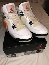 Nike Air Jordan Retro 4 OG White Cement IV Size 10 2016 840606-192 Air Sole Jump