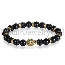 Men's Gold Tone Buddha Black Artificial Onyx Beaded Bracelet Lucky Bangle Gift
