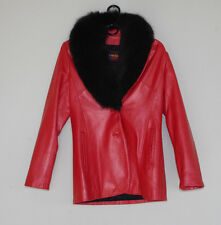 Ferrara Collection Women's Red Leather Jacket with Black Fox Fur Collar Small
