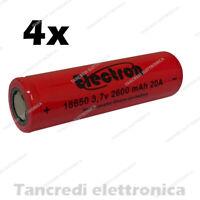 4x Batteria ricaricabile litio 18650 2600mah 20A 8C e-cig sigaretta elettronica