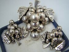 Large Taxco Mexico Solid Sterling Silver Grapes Pendant Brooch Earrings Set