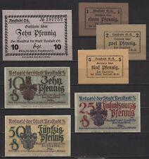 [21503] - 7 x NOTGELD NEUSTADT OS (heute: Prudnik), Stadt, 1 - 50 Pf, 1919/1920,