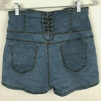 Denim Shorts Size 6 8 High Rise Waist Button Fly Lace Up  Boho Festival Hippie