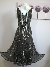 Principles Vintage 20's Gatsby Flapper Beaded Evening Dress Size 14