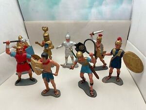 "Vintage 1963 MARX Hard Plastic 6"" Knights, Vikings, Romans & Egyptian Figures"