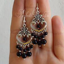 Black chandelier earrings 925 sterling silver hooks Tibetan silver cute jewelry