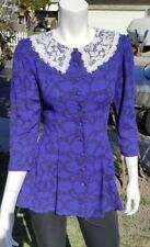 NEW VTG GUNNE SAX STYLE SECRETARY ROYAL BLUE NECK LACE LONG SLEEVE SIZE 7