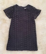 New Zara Girls Guipure Lace Grey Shift Dress With Flare Sleeves Size 8