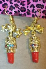 Betsey Johnson Red Enamel And Crystals Lips / Lipstick Dangle Hook Earrings