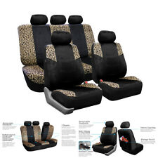 Lush Velour Leopard Print Airbag Car 5-Sits Seat Cover Full Set FREE SHIPMENT
