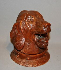 Fine Quality Late C19th Carved Wood Dog's Head